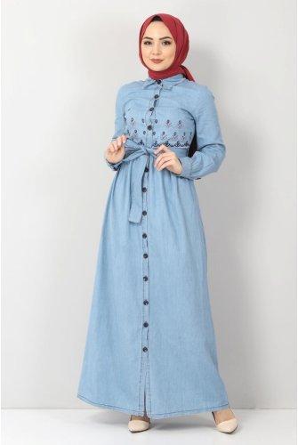 Embroidered Hijab Jeans Dress TSD4098 Light blue