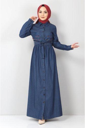 Embroidered Hijab Jeans Dress TSD4098 Dark Blue
