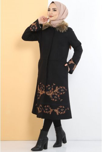 Embroidered Stamping fabric Coat TSD1270 Black