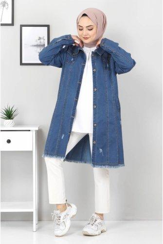 ribbed skirt Tasseled Jeans Jacket TSD07508 Dark Blue
