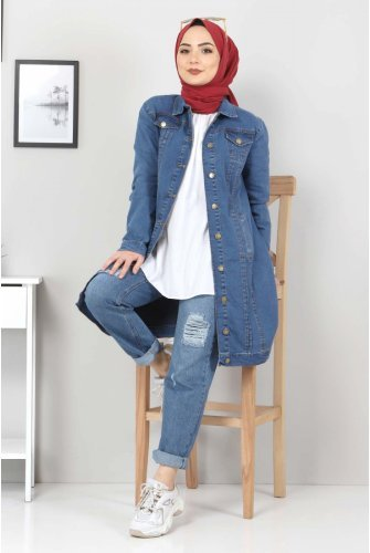 ribbed Jeans Jacket TSD22038 Dark Blue