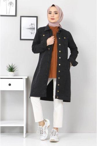 ribbed Jeans Jacket TSD22038 Black
