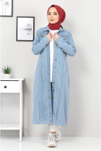 ribbed Long Jeans Women-Jackets TSD22037 Light blue