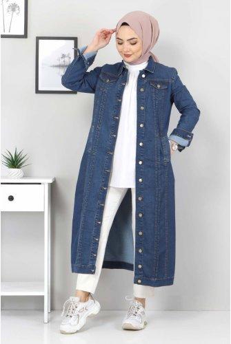 ribbed Long Jeans Women-Jackets TSD22037 Dark Blue