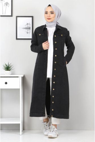 ribbed Long Jeans Women-Jackets TSD22037 Black