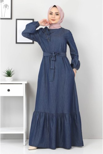 Shoulder Pearl Detailed Jeans Dress TSD4124 Dark Blue