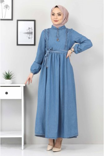 Its Frilly Jeans Dress TSD6267 Light blue