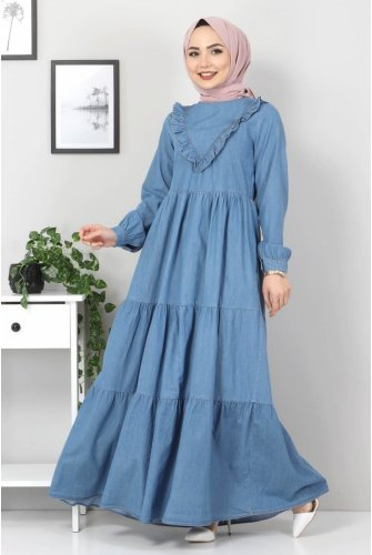Its Frilly Jeans Dress TSD7121 Light blue