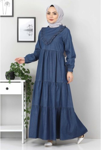 Its Frilly Jeans Dress TSD7121 Dark Blue