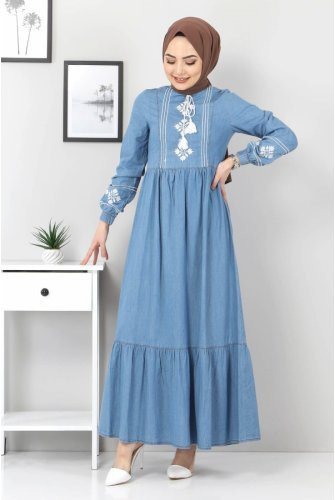 Its Embroidered skirt Pleated Dress TSD6152 Light blue