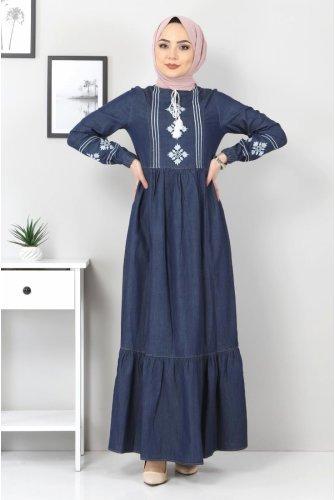 Its Embroidered skirt Pleated Dress TSD6152 Dark Blue