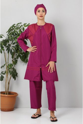Its Stripe Hijab Swimsuit TSD8806 Damson - Pink