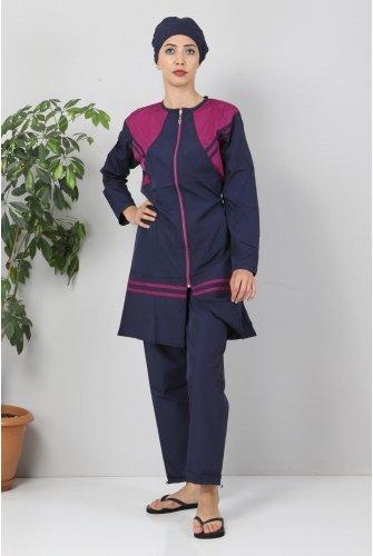 Its Stripe Hijab Swimsuit TSD8811 Navy blue - Purple
