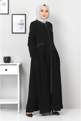 Pleated Embroidered Plus Size Abayas TSD00923 Black