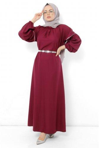 battery Detailed Hijab Dress TSD0884 Damson
