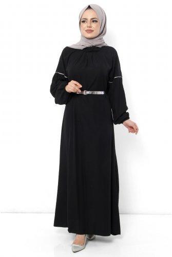 battery Detailed Hijab Dress TSD0884 Black