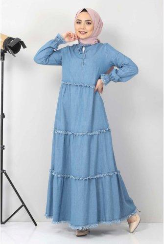 Tasseled Jeans Dress TSD66121 Light blue