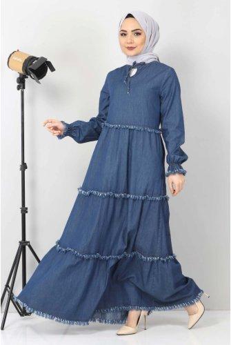 Tasseled Jeans Dress TSD66121 Dark Blue