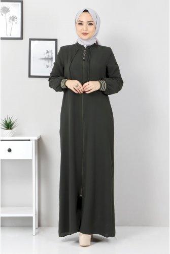 Ribanalı Abayas TSD07010 Khaki