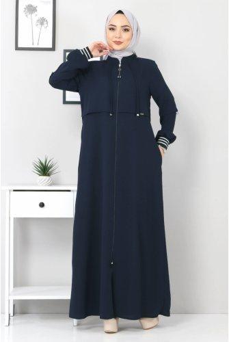 Ribanalı Abayas TSD7010 Navy blue