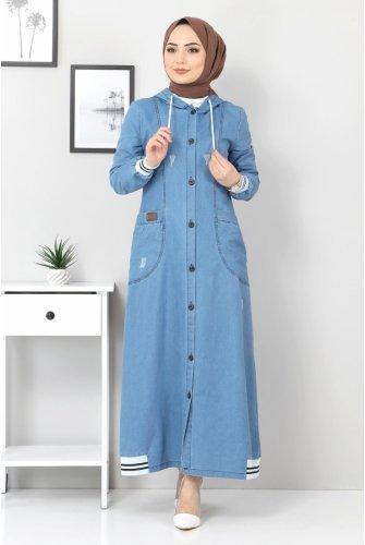 Ribanalı Jeans Women-Jackets TSD1219 Blue