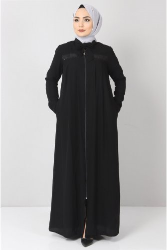 Robalı Pul Payetli Abayas TSD21037 Black