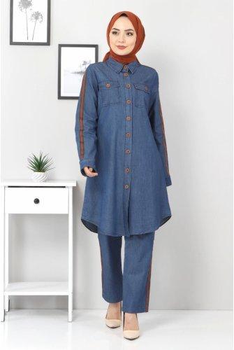 Stripe Jeans Binary Suit TSD00452 Dark Blue