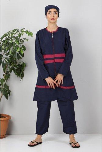Stripe Hijab Swimsuit TSD8830  Navy blue- Damson