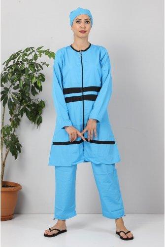 Stripe Hijab Swimsuit TSD8830  Blue-Black