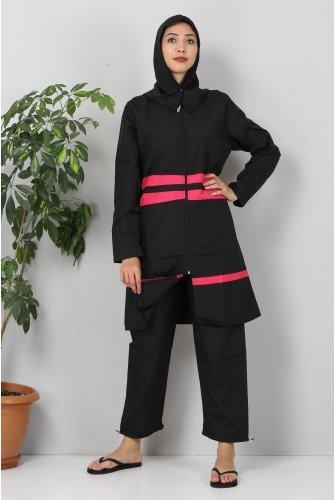 Stripe Hijab Swimsuit TSD8830 Black - Hot pink