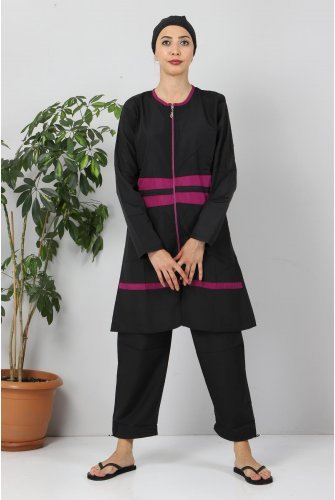 Stripe Hijab Swimsuit TSD8832 Black - Purple