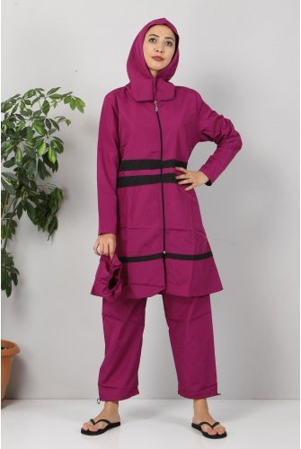 Stripe Hijab Swimsuit TSD8833 Purple - Black