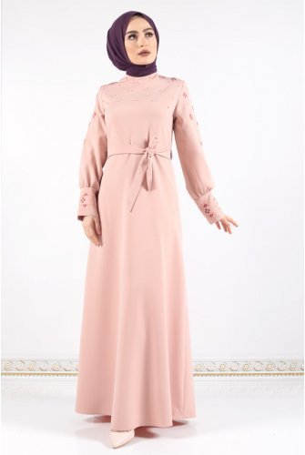 Arm and cuff Embroidered Dress TSD0312 Light Pink