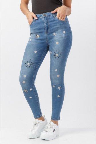 Taşlı Kot Des Pantalons TSD0100 Bleu