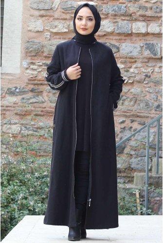 Arms Stripe Stamping fabric Coat TSD0279 Black