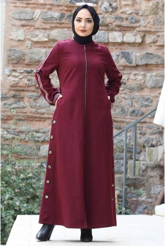 Arms Stripe Stamping fabric Coat TSD0279 Claret Red