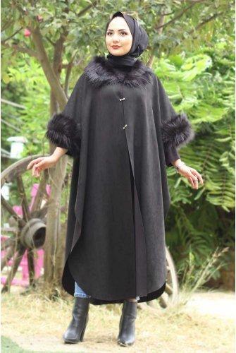 Suede Long poncho TSD6006 Black