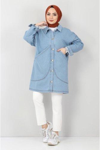 Torba Pocket Detailed Jeans Jacket TSD22041 Light blue