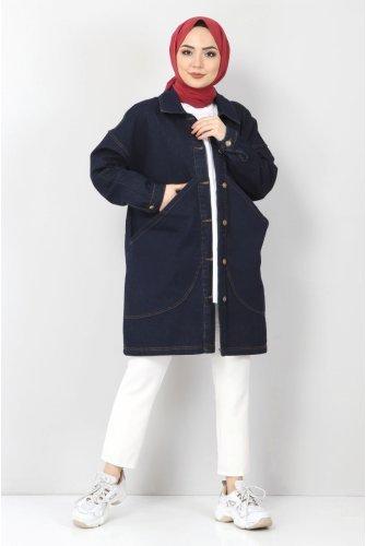 Torba Pocket Detailed Jeans Jacket TSD22041 Dark Blue