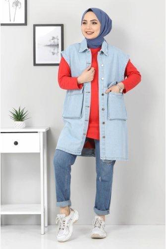 Torba Pocket Detailed Jeans Vest TSD22042 Light blue