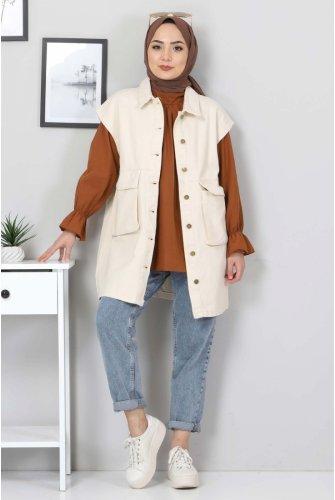 Torba Pocket Detailed Jeans Vest TSD22042 Beige