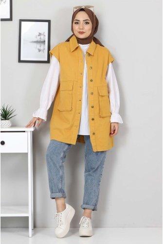 Torba Pocket Detailed Jeans Vest TSD22042 Mustard