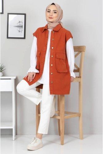Torba Pocket Detailed Jeans Vest TSD22042 Tile