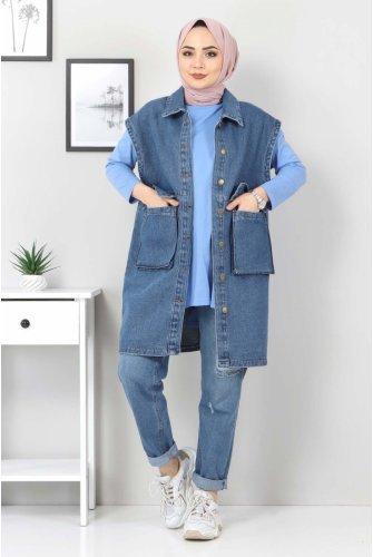 Torba Pocket Detailed Jeans Vest TSD22042 Dark Blue