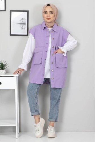 Torba Pocket Detailed Jeans Vest TSD22042 Lila