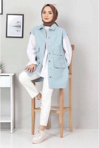 Torba Pocket Detailed Jeans Vest TSD22042 Mint