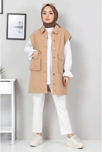 Torba Pocket Detailed Jeans Vest TSD22042 Camel