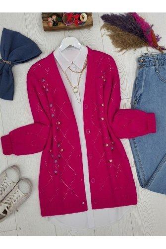Ajurlu Çiçek Embroidered Button Knitwear Cardigan -Hot pink