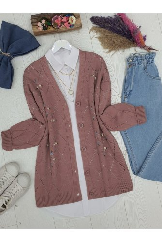 Ajurlu Çiçek Embroidered Button Knitwear Cardigan -Rose Kurusu