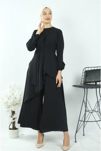 Asymmetric Kesim Plentiful Trotter Ayrobin Suit -Black
